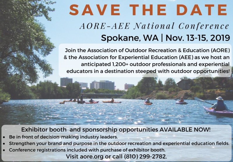 Save the Date for the AORE-AEE National Conference in Spokane, WA, Nov. 13-15, 2019