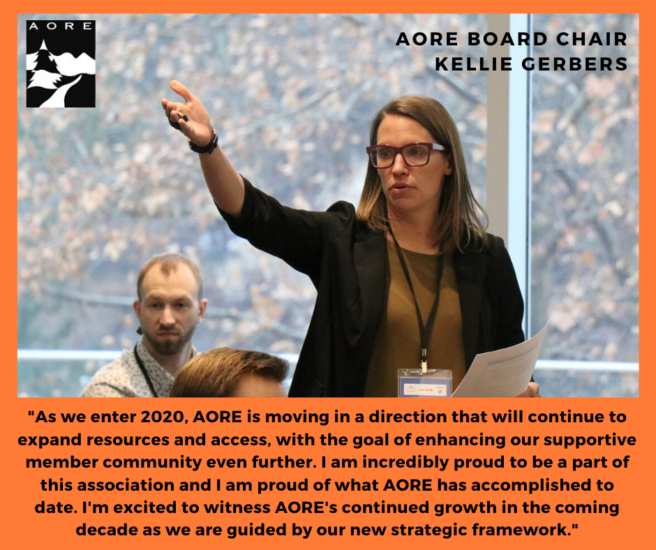 Report from Board Chair Kellie Gerbers - AORE Decade-In-Review - Primary Image and Quote