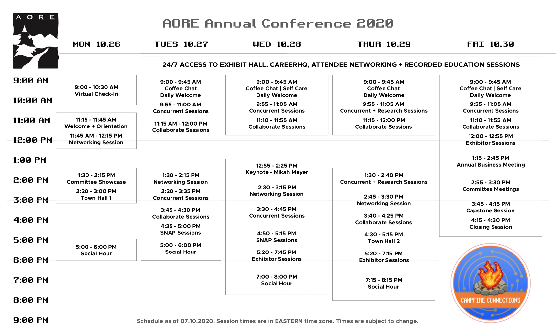 AORE Annual Conference 2020 Schedule At-a-Glance